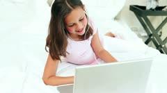 Teenage girl listening to music Stock Footage