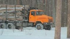 The wood industry truck in the city forest Stock Footage