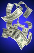 falling money $100 bills - stock photo