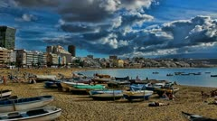 Beach of the Canteras enhanced postcard view Stock Footage