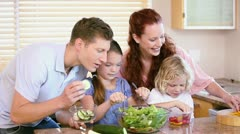 Family making a salad with vegetables Stock Footage