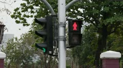 The different traffic light changes from red to green Stock Footage