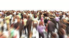 Crowd flight through - zoom out - stock footage