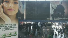 Busy Italian train station, notice board Stock Footage