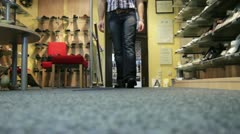 Walk shoe retail Stock Footage
