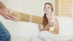 A couple receiving a package Stock Footage