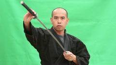 Medium Sword Draw and Cuts Green Screen Plus Alpha Stock Footage
