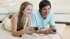Friends playing video games Stock Footage