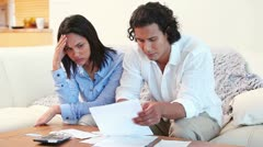 Young couple having financial troubles Stock Footage