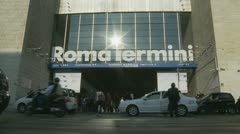 Roma Termini train station entrance Stock Footage