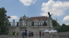 Architecture of Buda Castel courtyard, budapest, Hungary Stock Footage