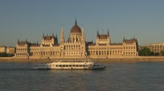 The Budapest Parliament and boats traffic, Budapest, Hungary Stock Footage