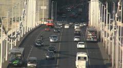 Big traffic cars on the bridge Stock Footage