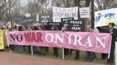 No Iran War Protest Stock Footage
