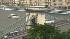 The Széchenyi Chain Bridge and boats traffic, Budapest, Hungary Stock Footage
