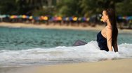 Girl on the beach Stock Footage