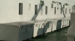 Storage boxes with lifejackets on a cruise ship 1 Stock Footage