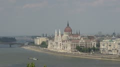Panoramic view of Budapest Parliament, Budapest, Hungary Stock Footage