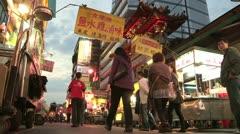 Night market in Taipei, Taiwan Stock Footage