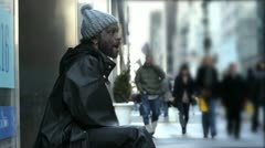 Homeless Drummer in Manhattan New York City - NYC Street Performer Audio - stock footage