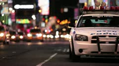 Stock Video Footage of Police Car in Times Square, New York City Manhattan NYC NYPD Patrol