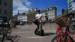 Strøget Square in the Summer with Segway, Copenhagen Denmark GFHD Stock Footage