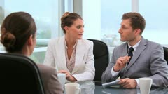 Business people speaking together Stock Footage