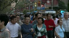 Crowd walk at Nanjing Dong Lu, Shanghai Stock Footage