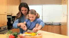 Smiling mother cooking with her daughter - stock footage