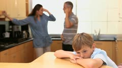 Child listening to his quarreling parents Stock Footage