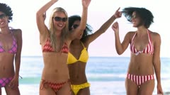 Friends raising their arms in slow motion Stock Footage