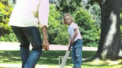 Father and son in slow motion playing cricket Stock Footage