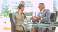 Business people in slow motion giving high-five Stock Footage