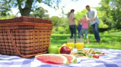 Family jumping in a cirlcle in the background with a platter on a picnic basket Stock Footage