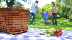 Family together in the background with a platter on a picnic basket in the Stock Footage