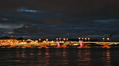Blagoveshchensky Bridge, night, timelapse Stock Footage