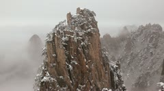 Mountain mist and winter snow, China, T/L Stock Footage
