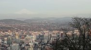 Panoramic View of Mount Hood and Portland Oregon Downtown and Cityscape Stock Footage