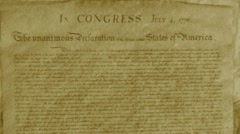 Declaration of Independence Stock Footage