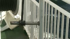 Metal fence on cruise ship 2 Stock Footage