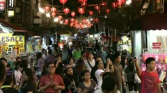 Street market, China Town, Singapore Stock Footage