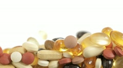 Falling Vitamin Pills - stock footage