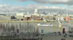London Tourist sight seeing river boat on the Thames Stock Footage