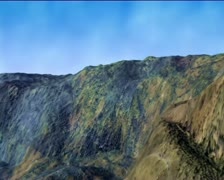 A virtual 3D flight over the landscape. Computer graphics. - stock footage