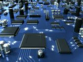 Blue Circuit Board with Electrons. HD Loop. Stock Footage