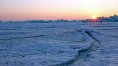 Frozen sea at dawn. Shot with a slider. Stock Footage