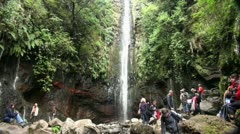 Waterfall at Rabacal with tourists 20110426 145535 Stock Footage