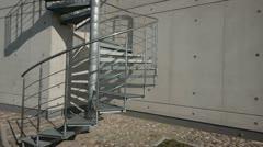 Circular metal stairs Stock Footage