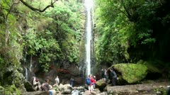 Waterfall at Rabacal with tourists 20110426 145727 Stock Footage