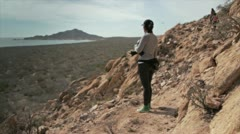 Girl walk in the desert Stock Footage